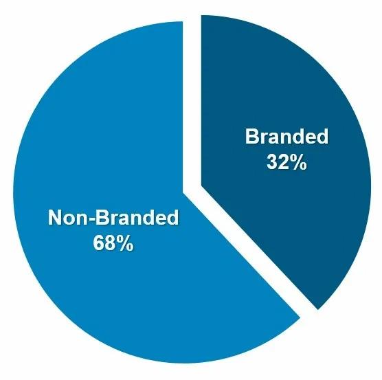 Branded vs. Non-branded pie chart