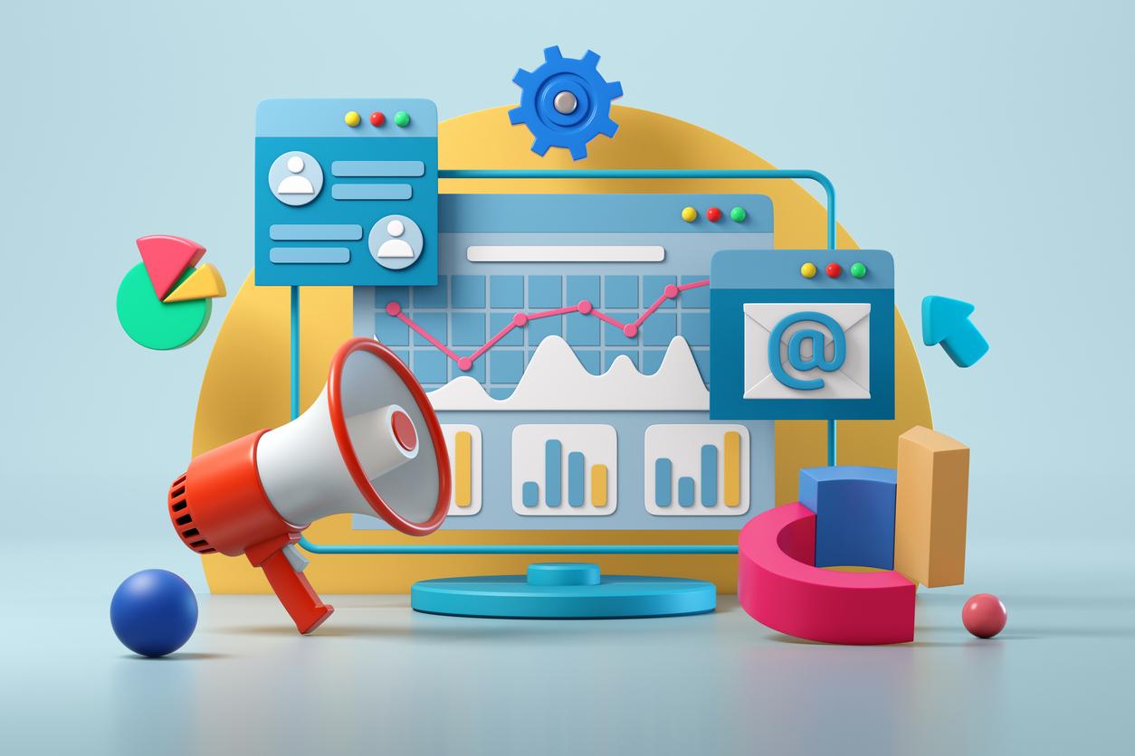 3D Illustration Displaying How Digital Marketing Works